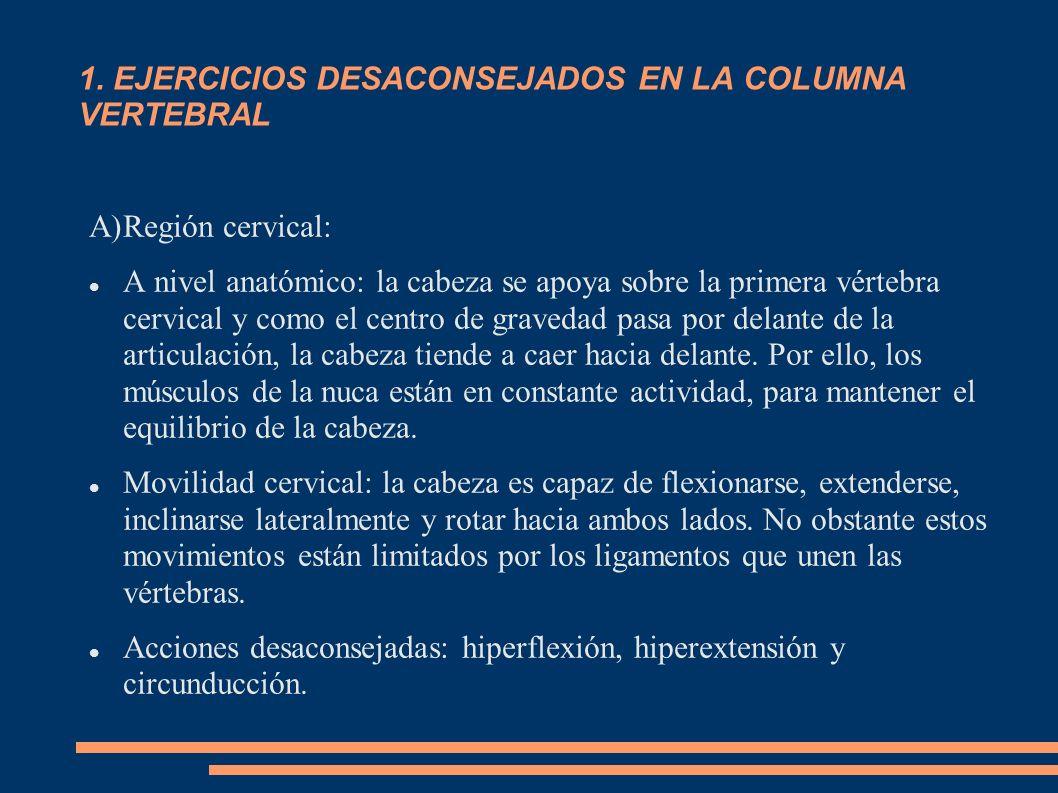 1. EJERCICIOS DESACONSEJADOS EN LA COLUMNA VERTEBRAL