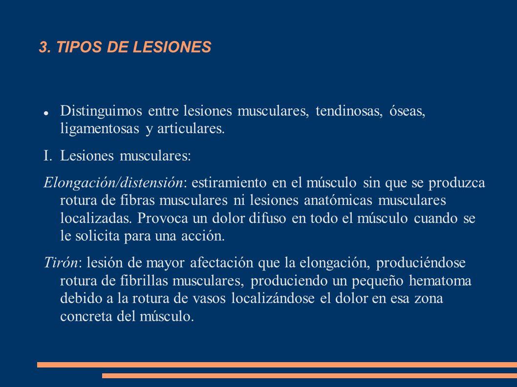 3. TIPOS DE LESIONES Distinguimos entre lesiones musculares, tendinosas, óseas, ligamentosas y articulares.