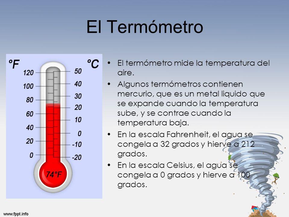El Termómetro El termómetro mide la temperatura del aire.