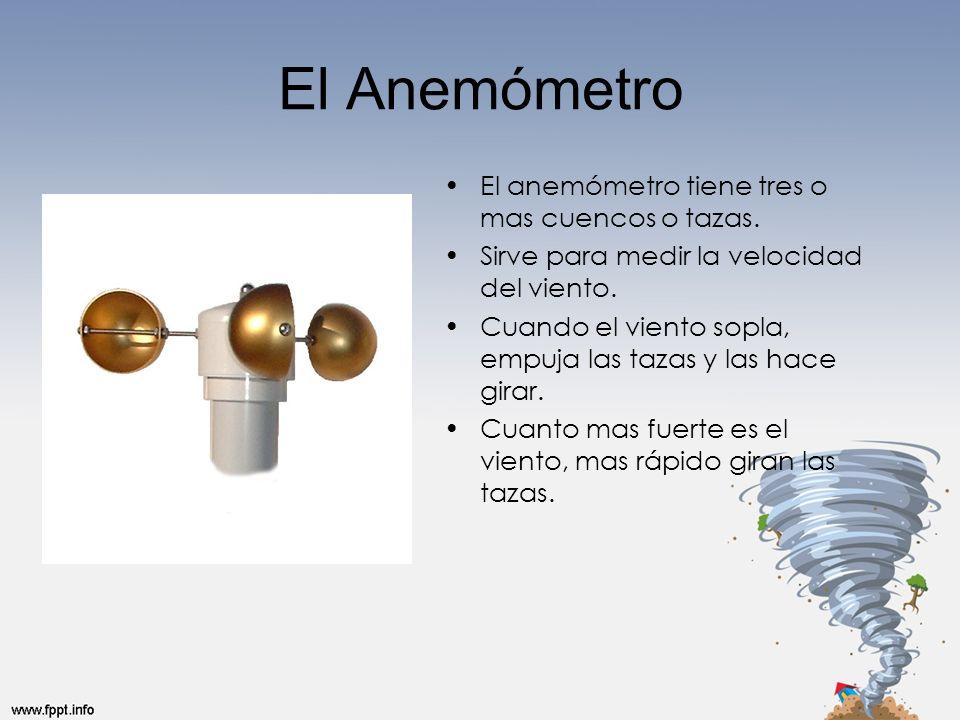 El Anemómetro El anemómetro tiene tres o mas cuencos o tazas.