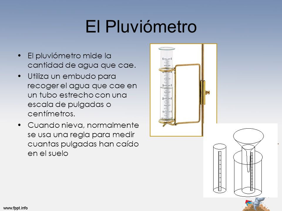 El Pluviómetro El pluviómetro mide la cantidad de agua que cae.