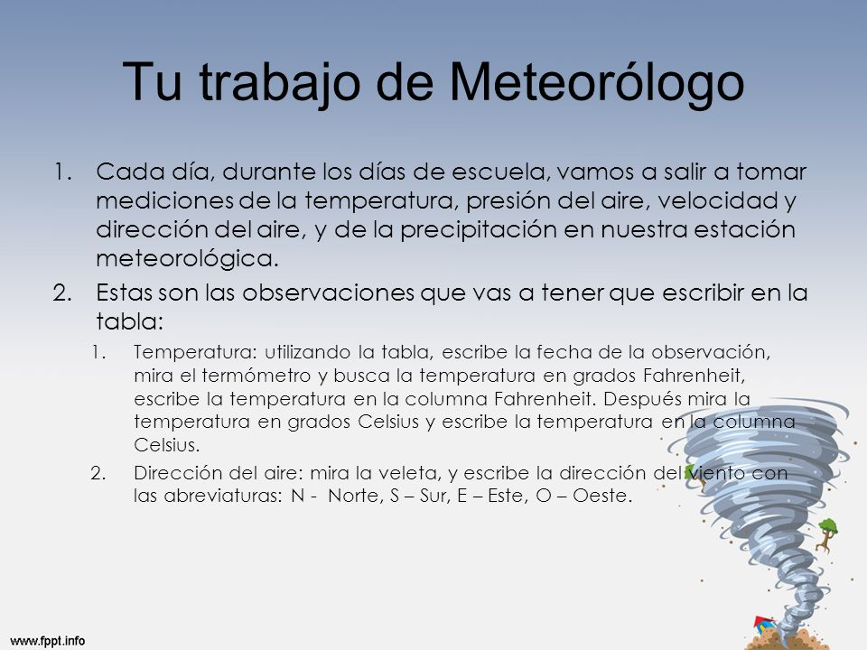 Tu trabajo de Meteorólogo