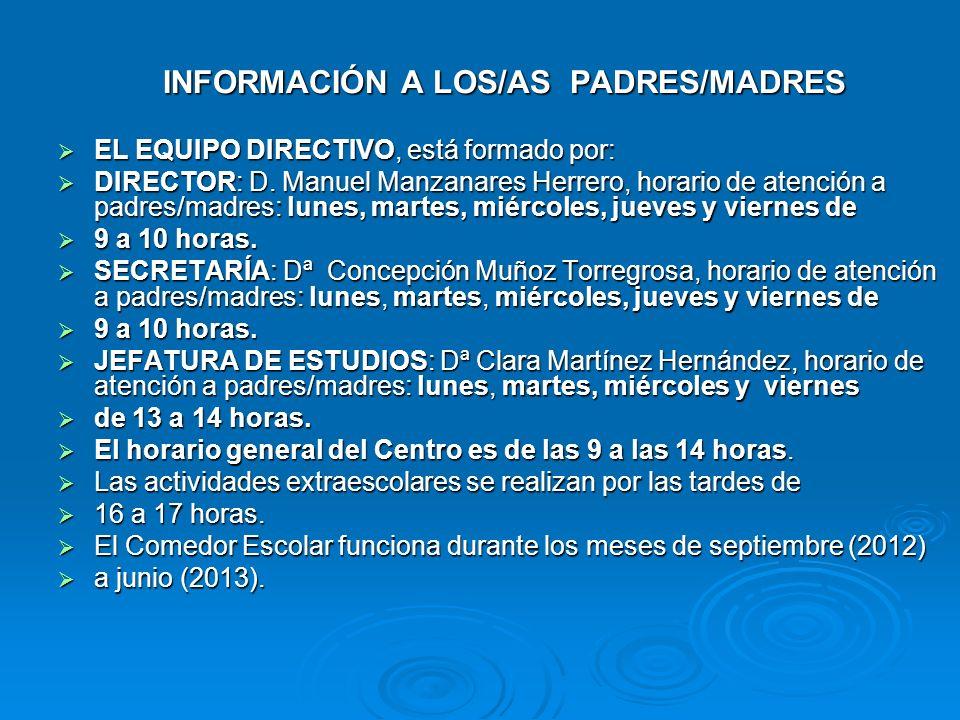 INFORMACIÓN A LOS/AS PADRES/MADRES