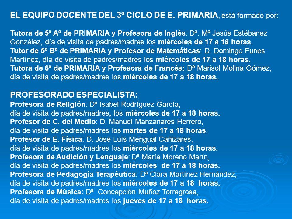 EL EQUIPO DOCENTE DEL 3º CICLO DE E. PRIMARIA, está formado por: