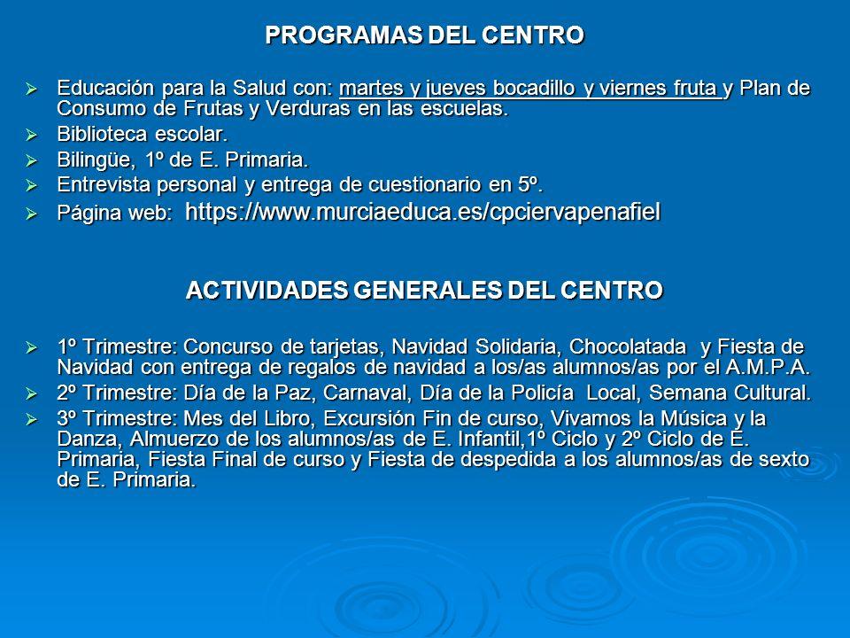 ACTIVIDADES GENERALES DEL CENTRO