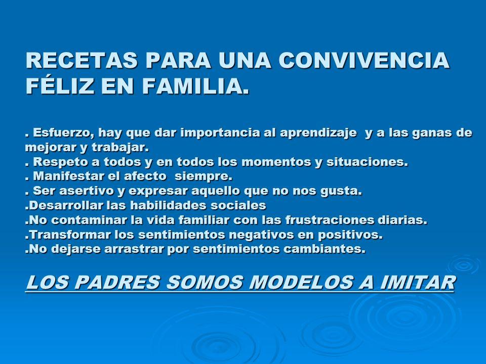 RECETAS PARA UNA CONVIVENCIA FÉLIZ EN FAMILIA