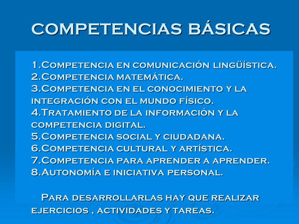 COMPETENCIAS BÁSICAS 1. Competencia en comunicación lingüística. 2