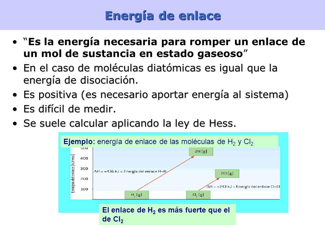 Energía de enlace Es la energía necesaria para romper un enlace de un mol de sustancia en estado gaseoso