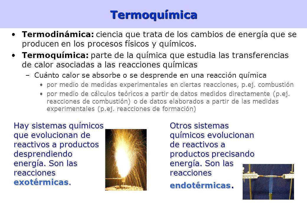 Termoquímica Termodinámica: ciencia que trata de los cambios de energía que se producen en los procesos físicos y químicos.