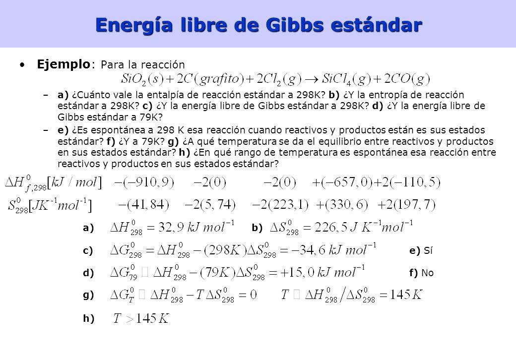 Energía libre de Gibbs estándar