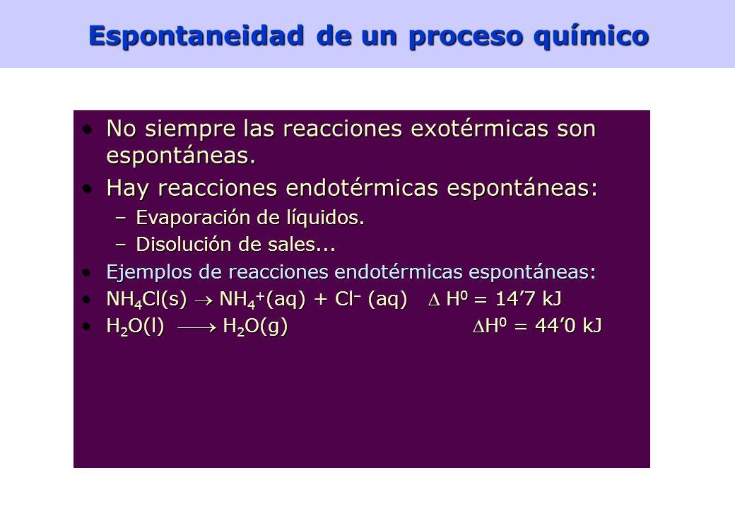 Espontaneidad de un proceso químico