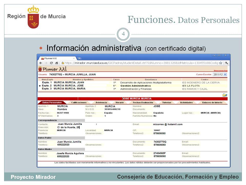 Funciones. Datos Personales