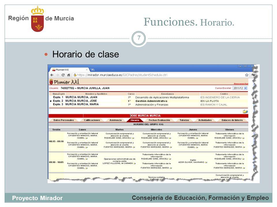 Funciones. Horario. Horario de clase Región de Murcia Proyecto Mirador