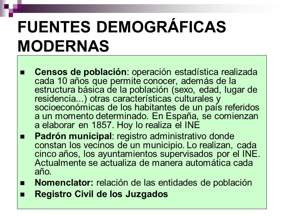 FUENTES DEMOGRÁFICAS MODERNAS