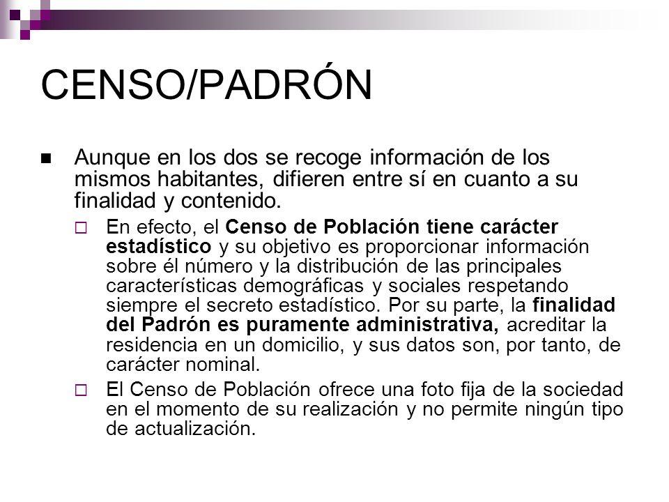 CENSO/PADRÓN Aunque en los dos se recoge información de los mismos habitantes, difieren entre sí en cuanto a su finalidad y contenido.
