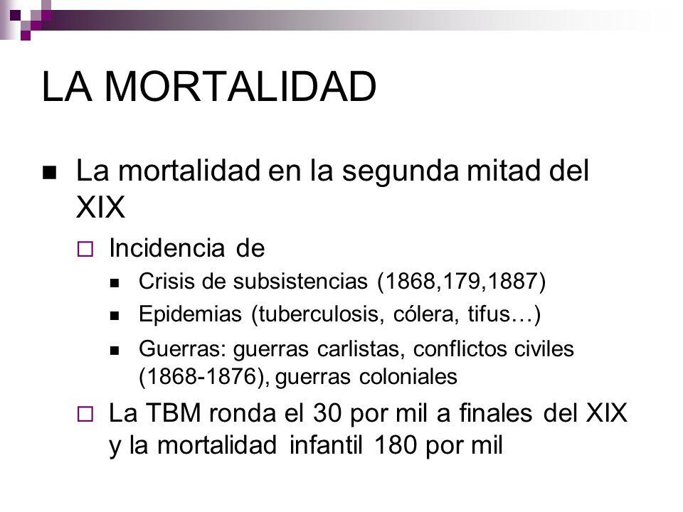 LA MORTALIDAD La mortalidad en la segunda mitad del XIX Incidencia de