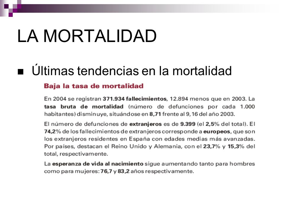 LA MORTALIDAD Últimas tendencias en la mortalidad