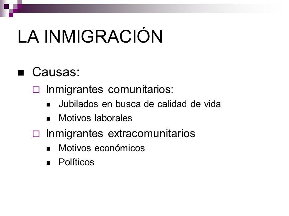 LA INMIGRACIÓN Causas: Inmigrantes comunitarios: