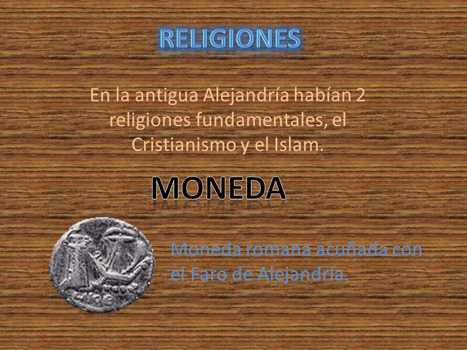 Religiones En la antigua Alejandría habían 2 religiones fundamentales, el Cristianismo y el Islam. Moneda.