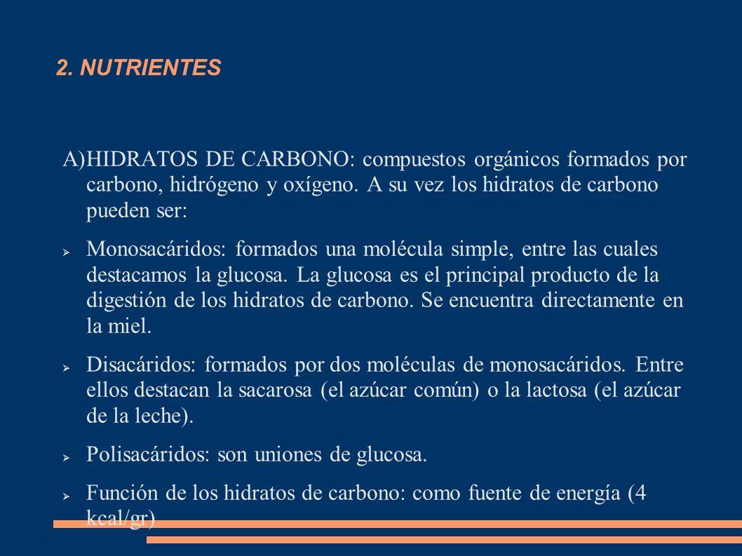 2. NUTRIENTES HIDRATOS DE CARBONO: compuestos orgánicos formados por carbono, hidrógeno y oxígeno. A su vez los hidratos de carbono pueden ser: