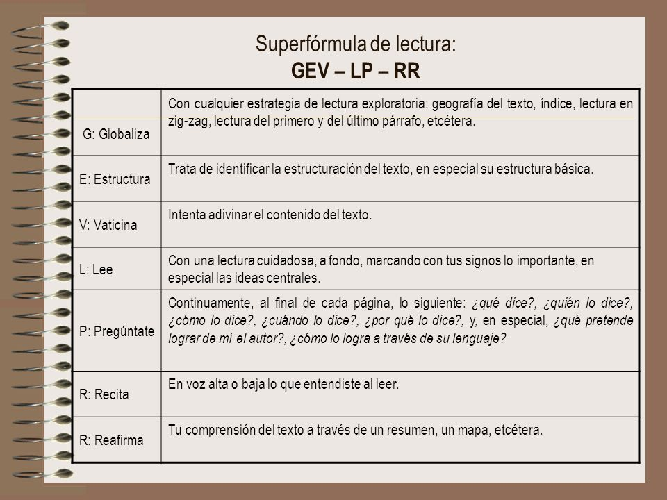 Superfórmula de lectura: GEV – LP – RR