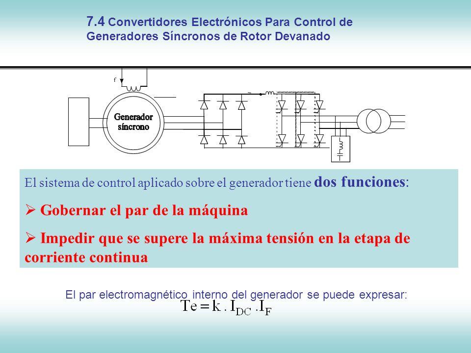 El par electromagnético interno del generador se puede expresar: