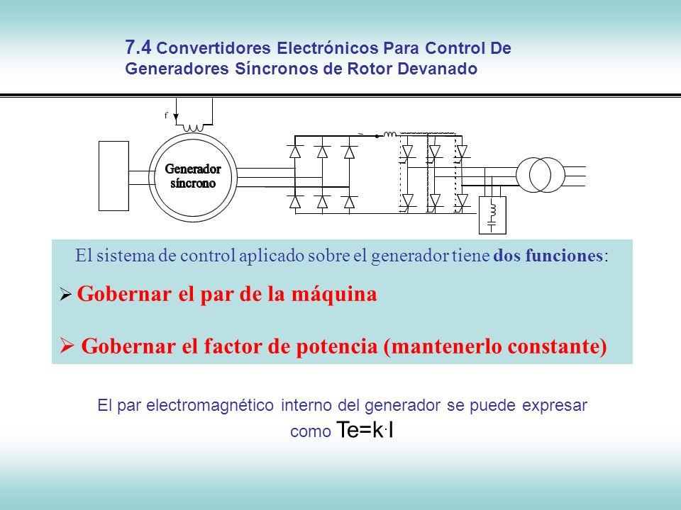 El sistema de control aplicado sobre el generador tiene dos funciones: