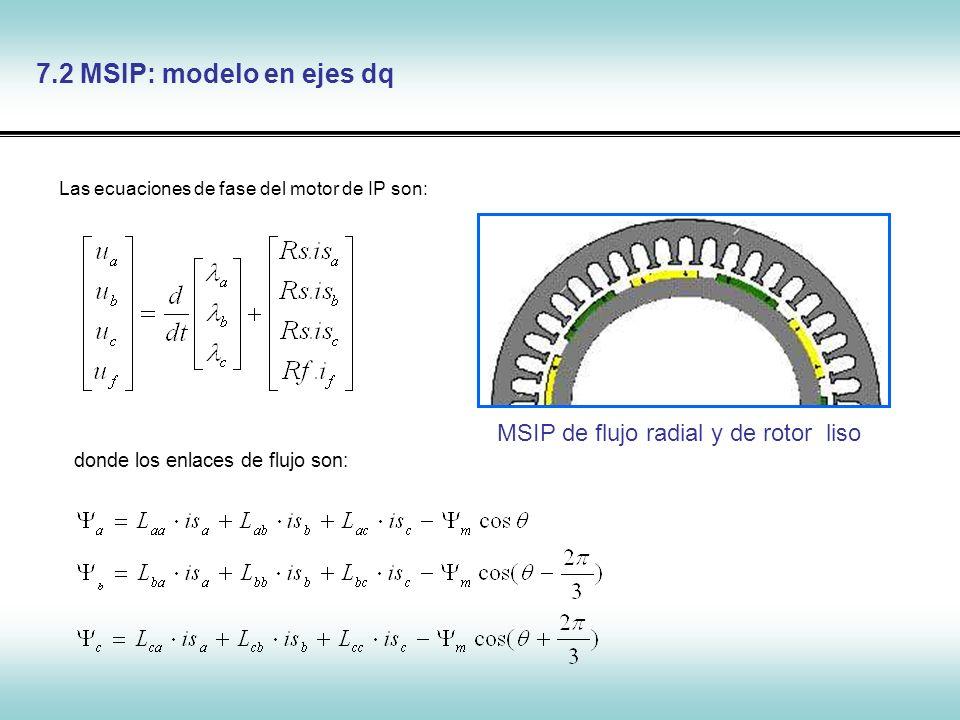 7.2 MSIP: modelo en ejes dq MSIP de flujo radial y de rotor liso