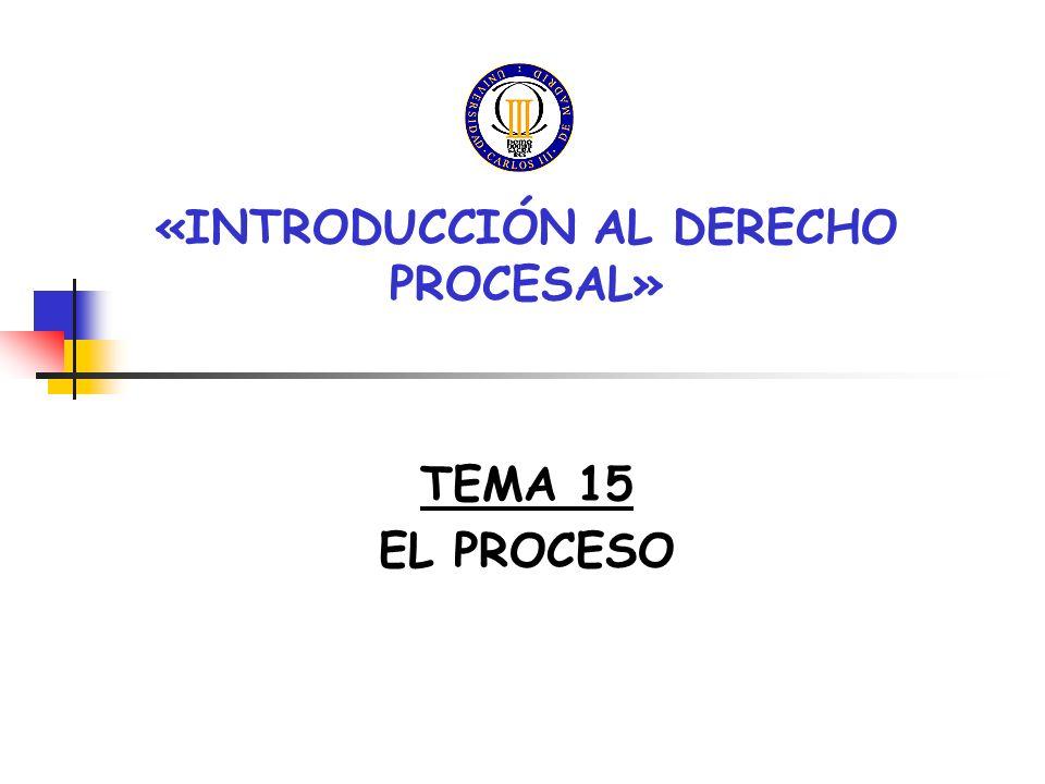«INTRODUCCIÓN AL DERECHO PROCESAL» TEMA 15 EL PROCESO