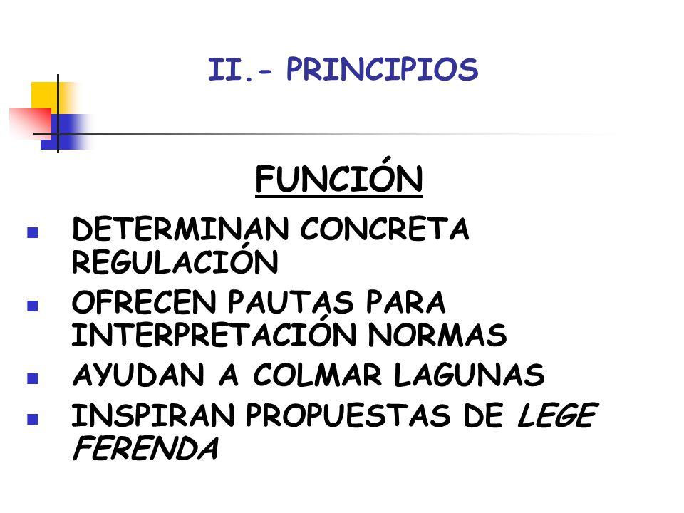 FUNCIÓN II.- PRINCIPIOS DETERMINAN CONCRETA REGULACIÓN