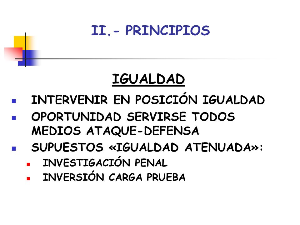 II.- PRINCIPIOS IGUALDAD