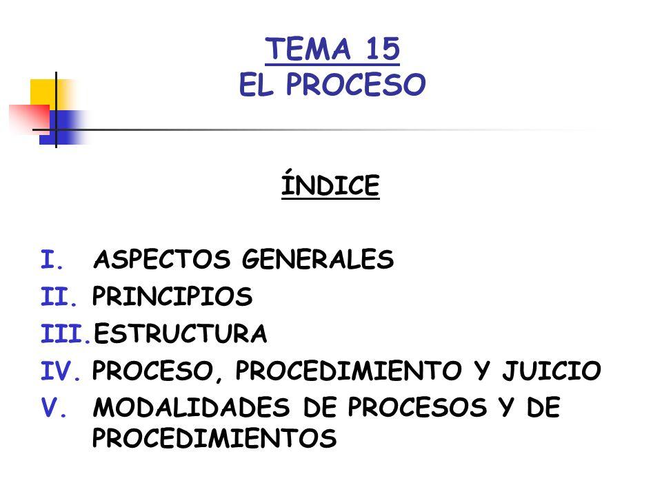 TEMA 15 EL PROCESO ÍNDICE ASPECTOS GENERALES PRINCIPIOS ESTRUCTURA