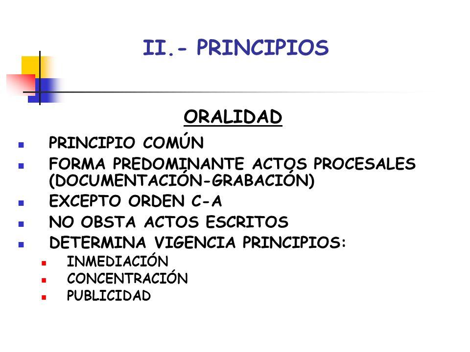 II.- PRINCIPIOS ORALIDAD PRINCIPIO COMÚN