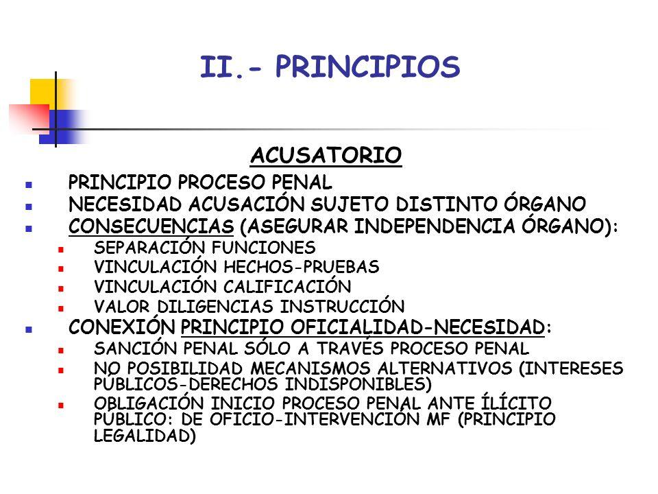 II.- PRINCIPIOS ACUSATORIO PRINCIPIO PROCESO PENAL
