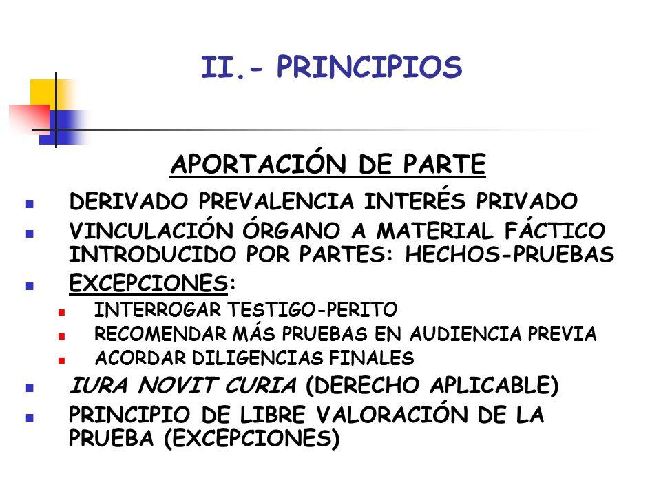 II.- PRINCIPIOS APORTACIÓN DE PARTE