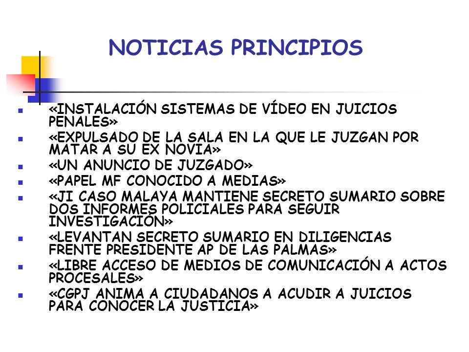 NOTICIAS PRINCIPIOS «INSTALACIÓN SISTEMAS DE VÍDEO EN JUICIOS PENALES»