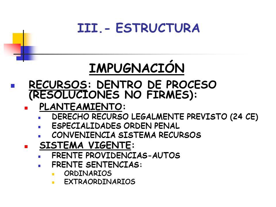 III.- ESTRUCTURA IMPUGNACIÓN