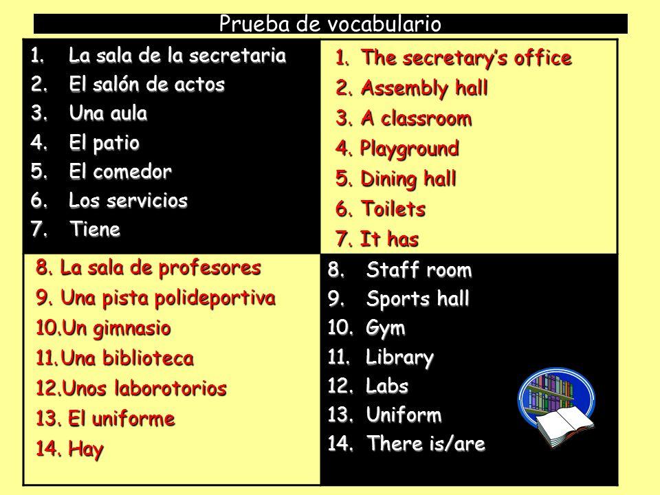 Prueba de vocabulario La sala de la secretaria El salón de actos