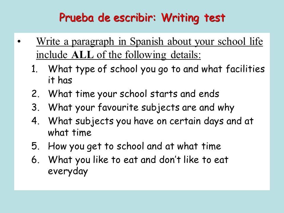 Prueba de escribir: Writing test