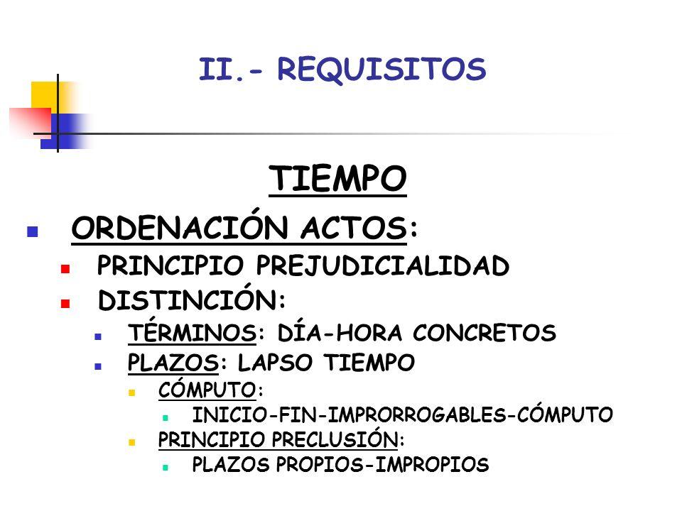 TIEMPO II.- REQUISITOS ORDENACIÓN ACTOS: PRINCIPIO PREJUDICIALIDAD