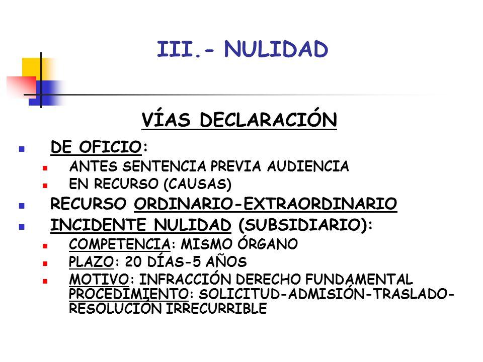 III.- NULIDAD VÍAS DECLARACIÓN DE OFICIO: