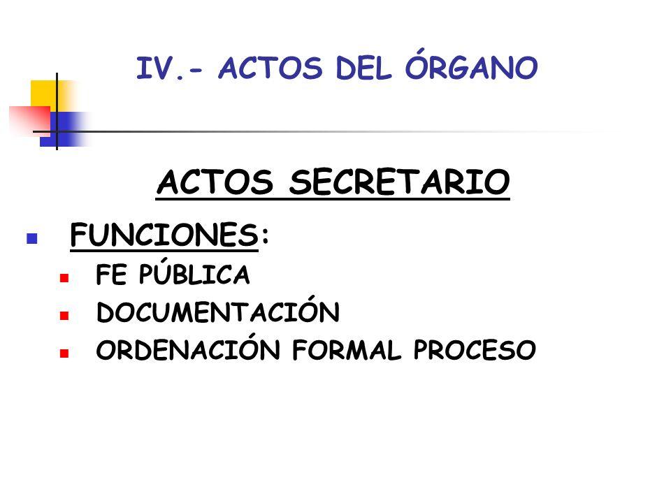ACTOS SECRETARIO IV.- ACTOS DEL ÓRGANO FUNCIONES: FE PÚBLICA