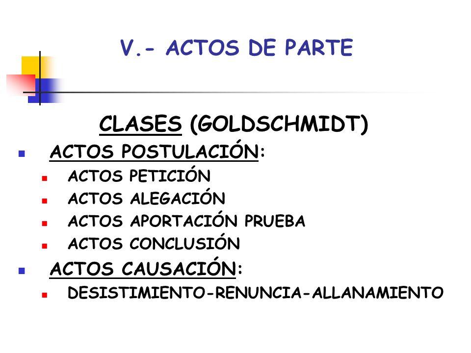 V.- ACTOS DE PARTE CLASES (GOLDSCHMIDT) ACTOS POSTULACIÓN: