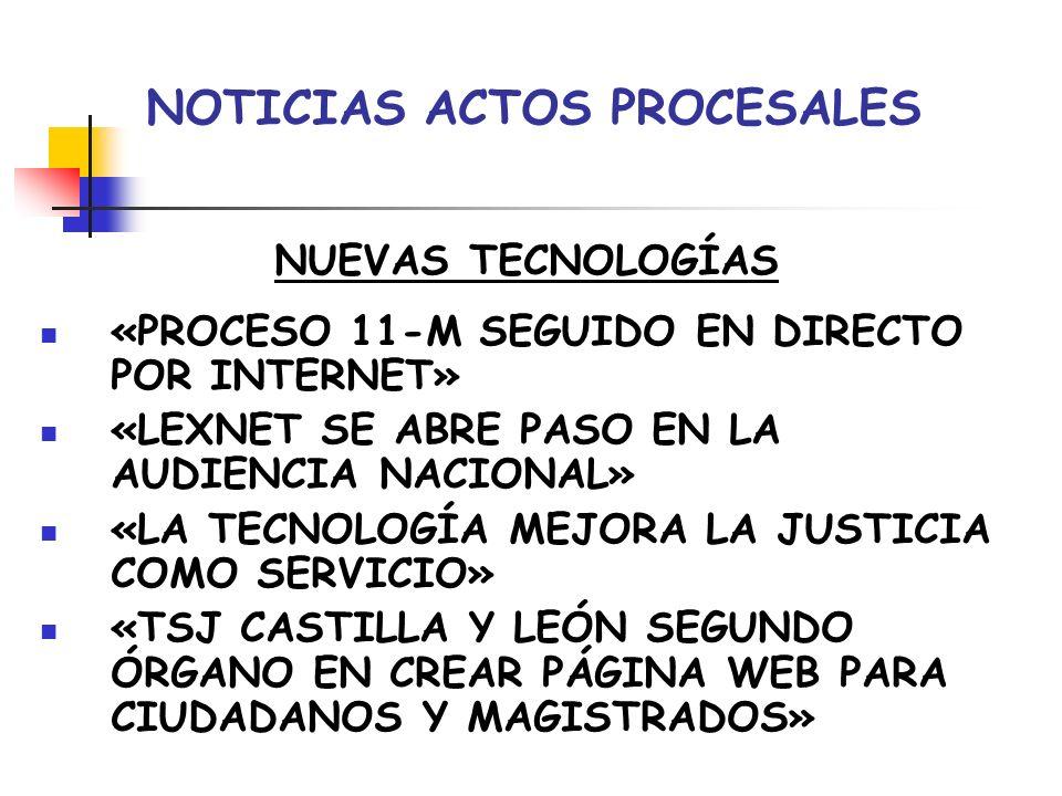 NOTICIAS ACTOS PROCESALES