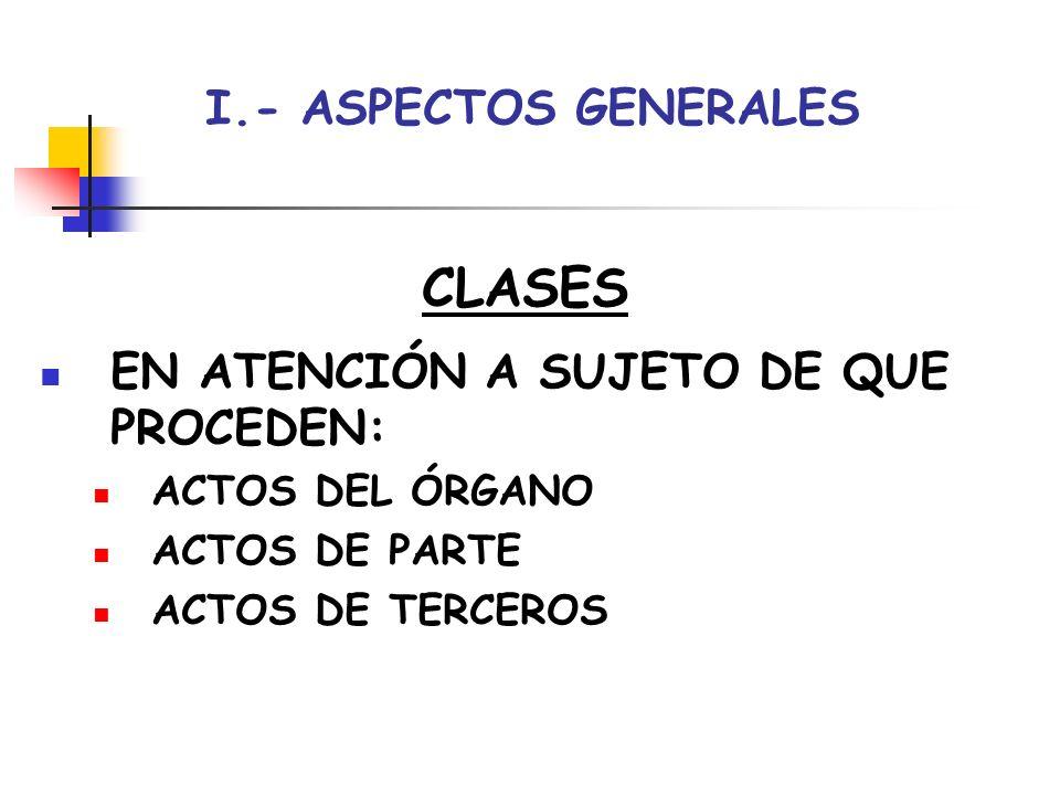CLASES I.- ASPECTOS GENERALES EN ATENCIÓN A SUJETO DE QUE PROCEDEN: