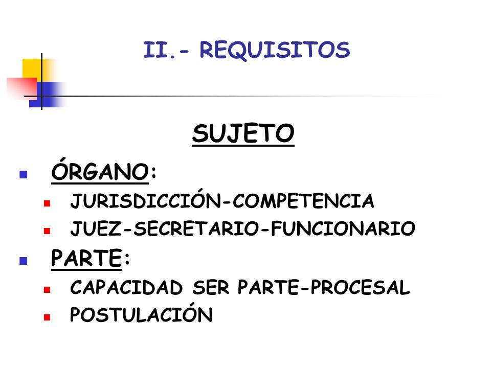 SUJETO II.- REQUISITOS ÓRGANO: PARTE: JURISDICCIÓN-COMPETENCIA