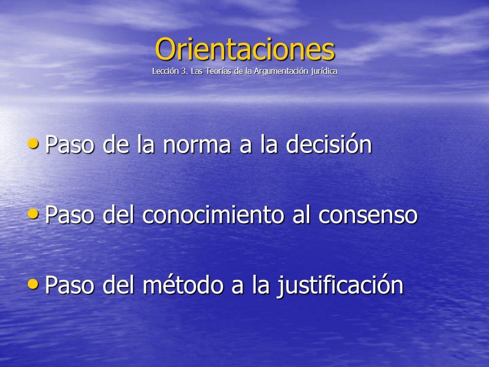 Orientaciones Lección 3. Las Teorías de la Argumentación jurídica