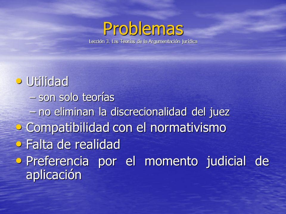 Problemas Lección 3. Las Teorías de la Argumentación jurídica