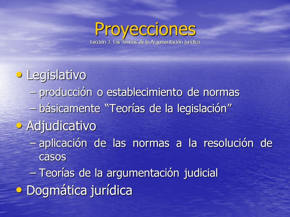 Proyecciones Lección 3. Las Teorías de la Argumentación jurídica