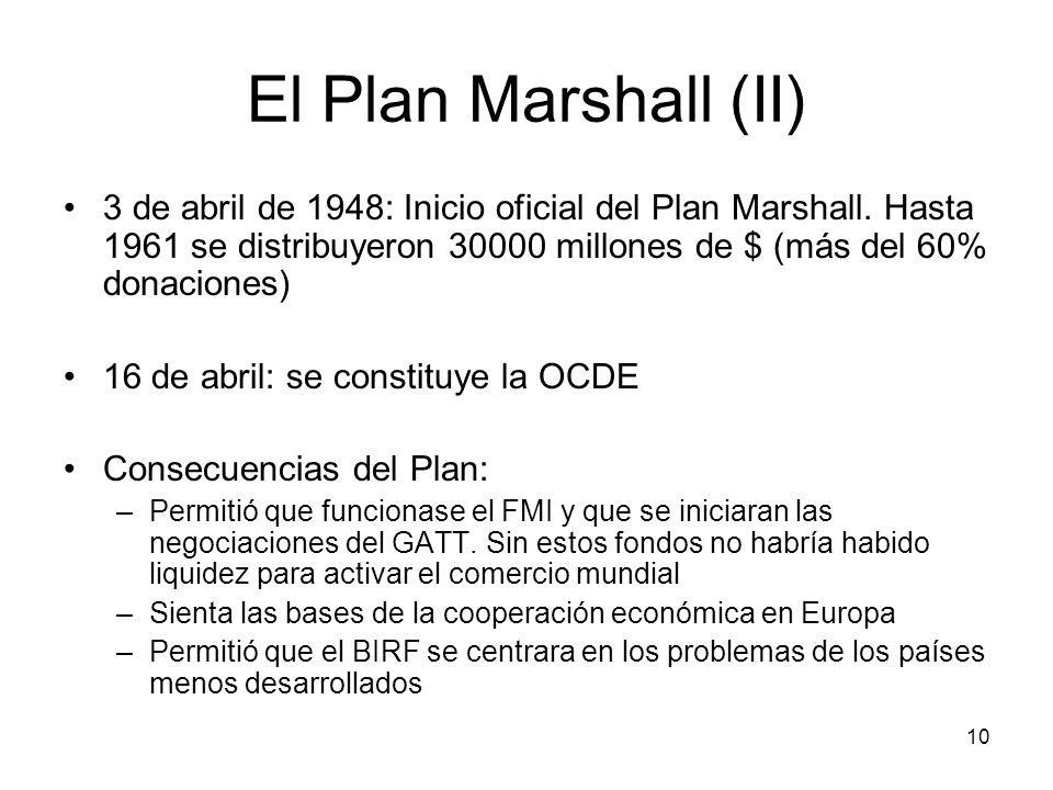 El Plan Marshall (II)3 de abril de 1948: Inicio oficial del Plan Marshall. Hasta 1961 se distribuyeron 30000 millones de $ (más del 60% donaciones)